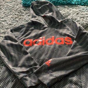 Grey and orange adidas hoodie